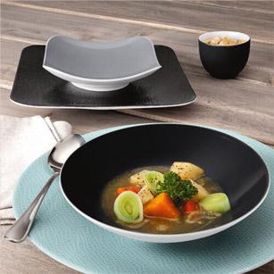 COUP Fine Dining Fashion - Hotelporzellan, Porzellandekor Grau, Schwarz, Türkis - Teller für Ihre Gastronomie