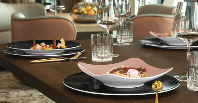 Coup Fine Dining Fashion - Hotelporzellan, Porzellandekor Altrosa, Schwarz - Gastronomie Teller